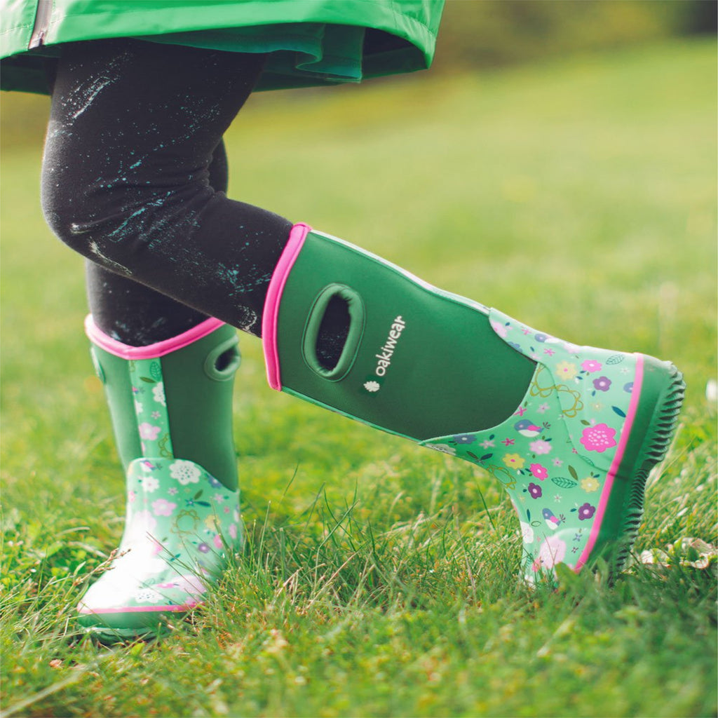 Green Floral Neoprene Rain/Snow Boots