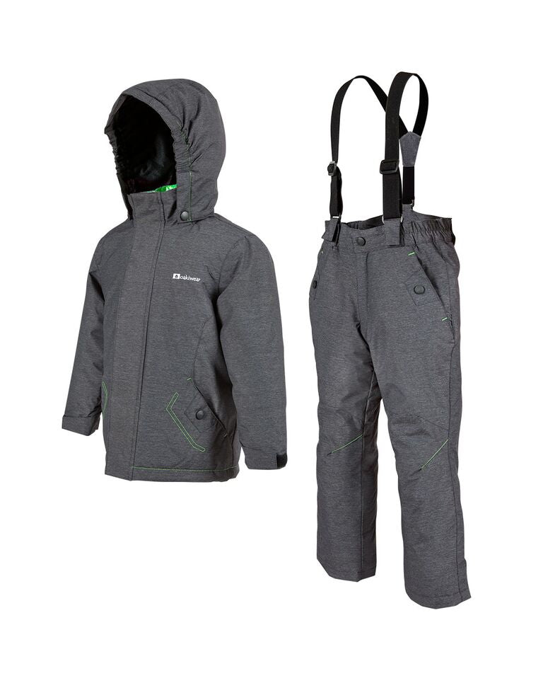 Dark Gray & Green Snow Ski Coat