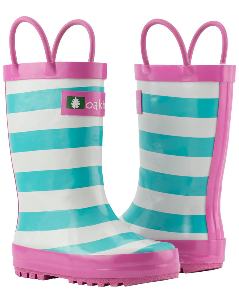 Mint, White & Pink Loop Handle Rubber Rain Boots