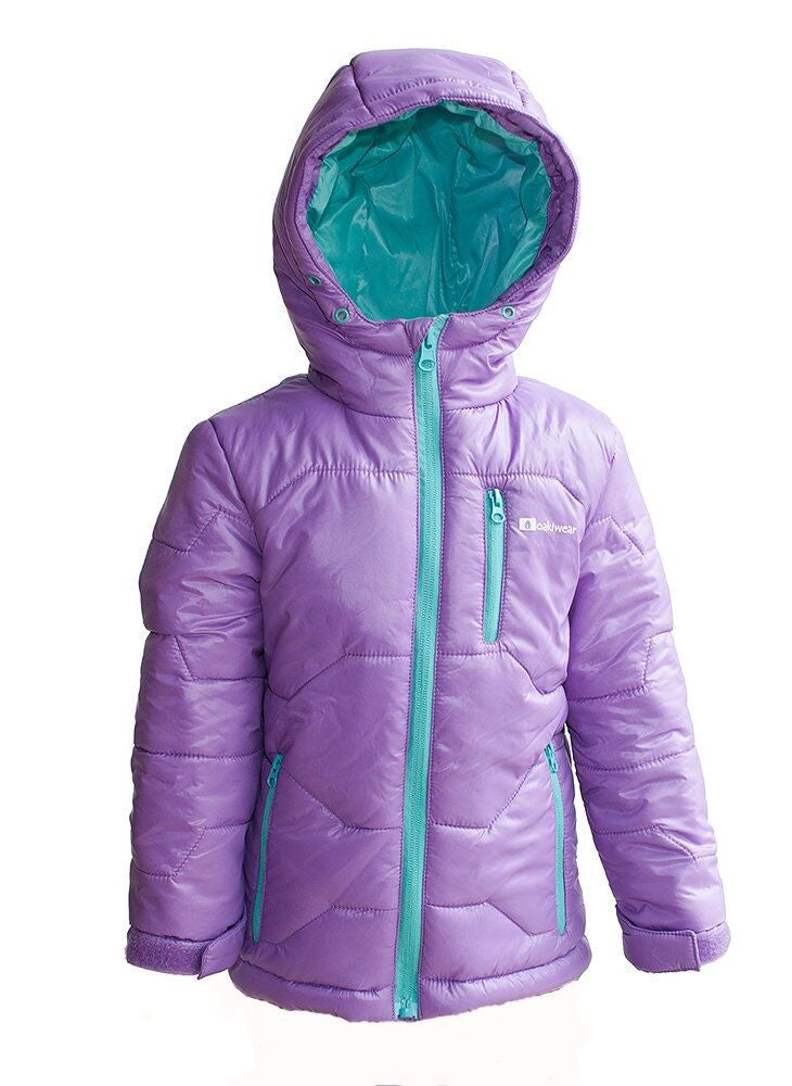 Children's Winter Puffy Jacket, Purple/Teal