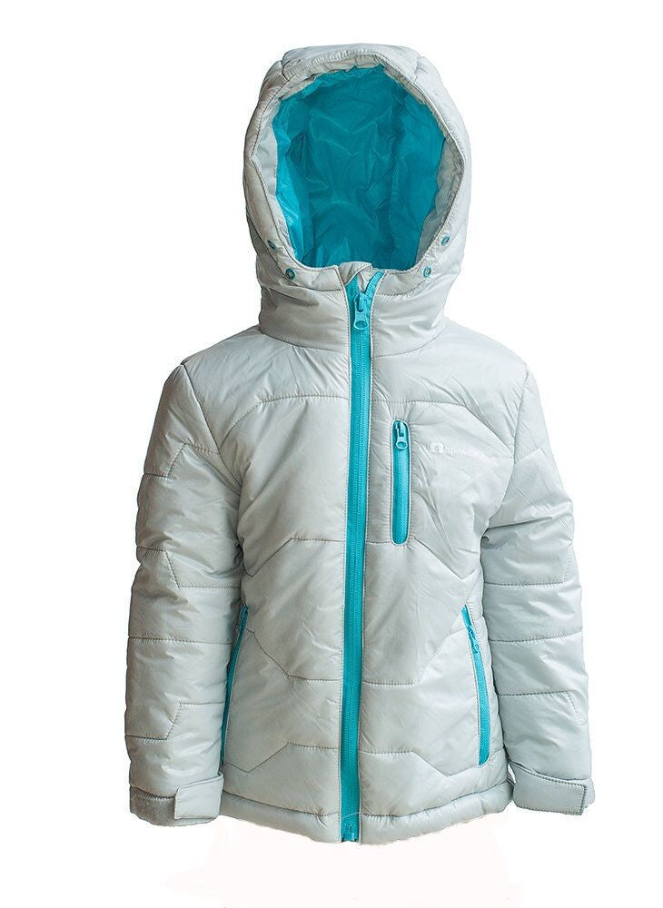 Children's Winter Puffy Jacket, Gray/Teal