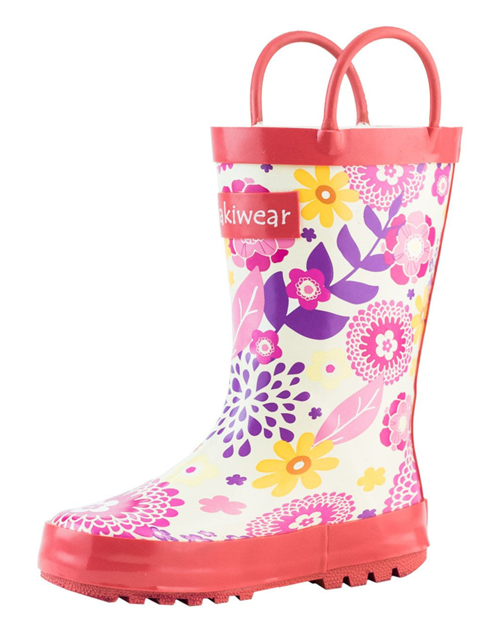 Pink Flowers Loop Handle Rubber Boots