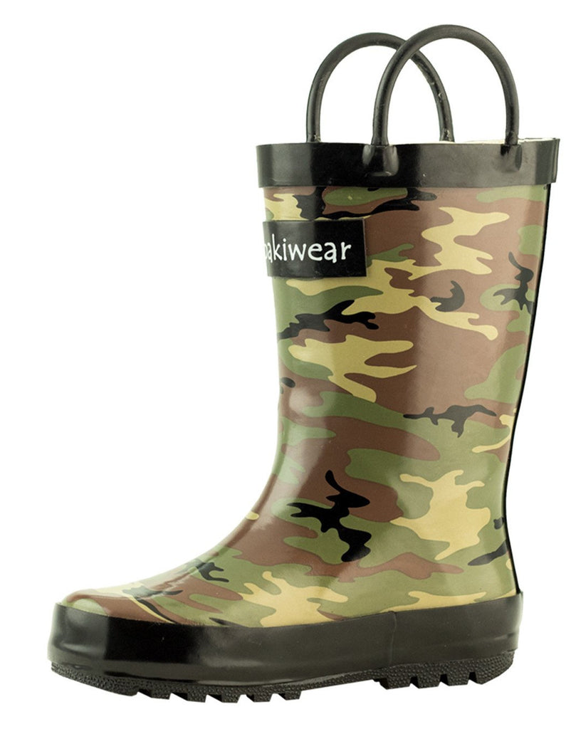 Army Camo Loop Handle Rubber Rain Boots