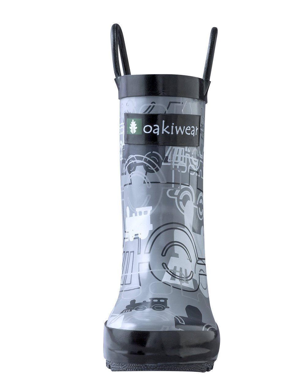 Gray/Black Trains Loop Handle Rubber Rain Boots