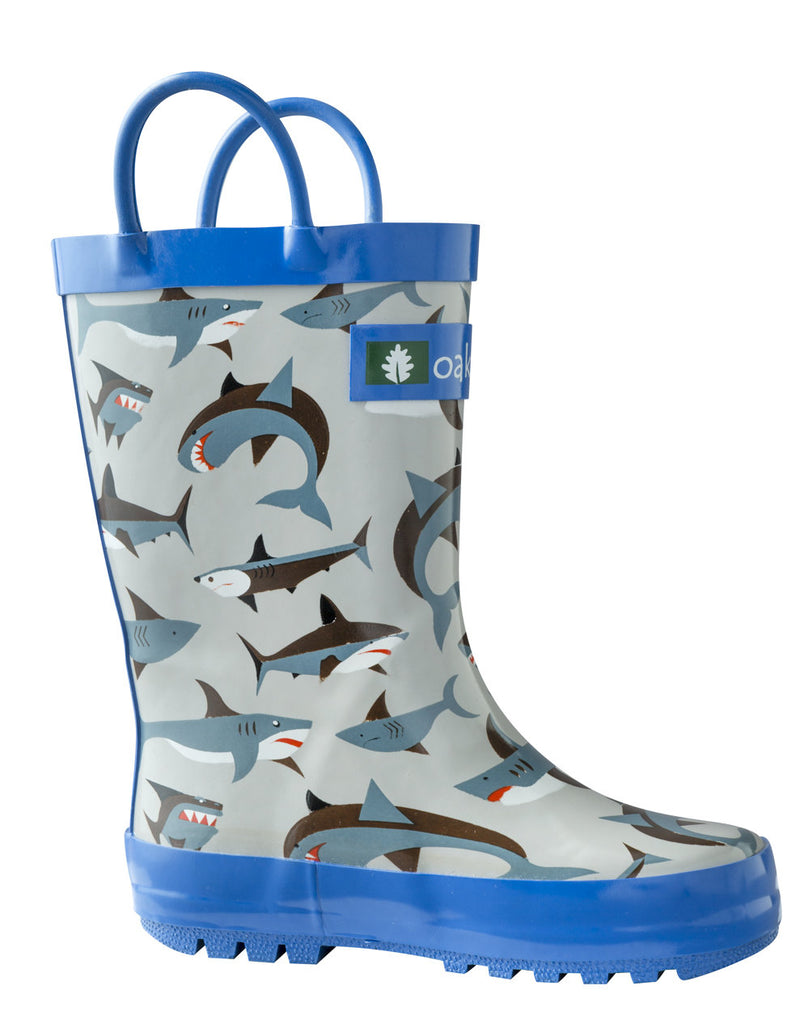 Shark Frenzy Loop Handle Rubber Rain Boot