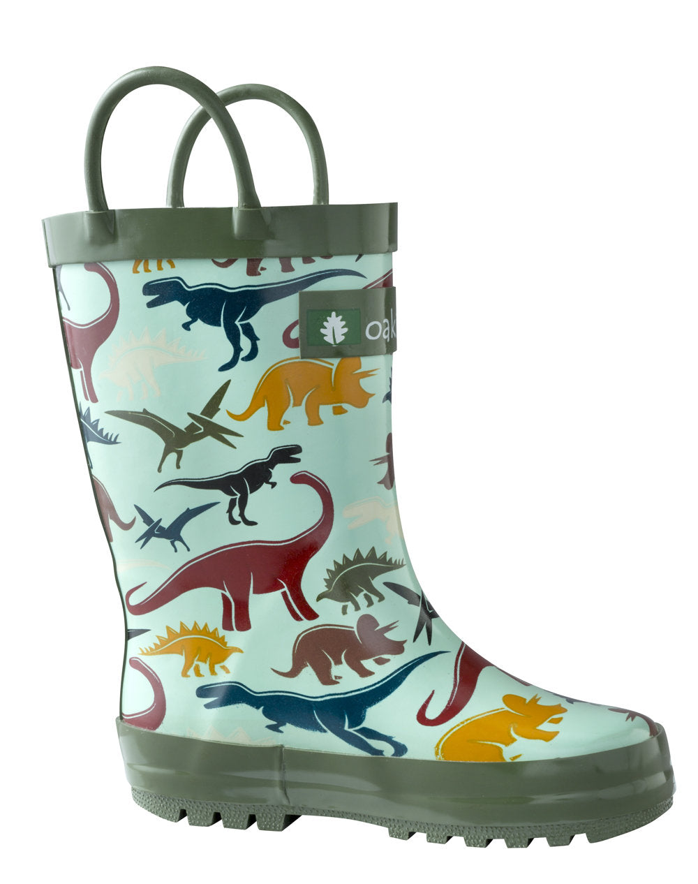 Earthy Dinosaurs Loop Handle Rubber Rain Boots