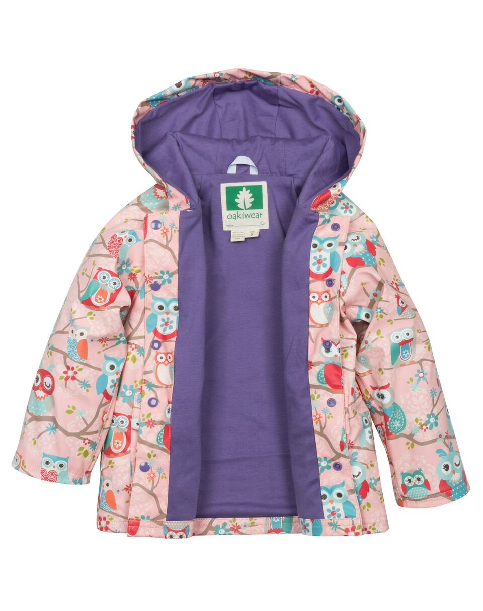 Perched Owls Lined Snap Up Rain Jacket