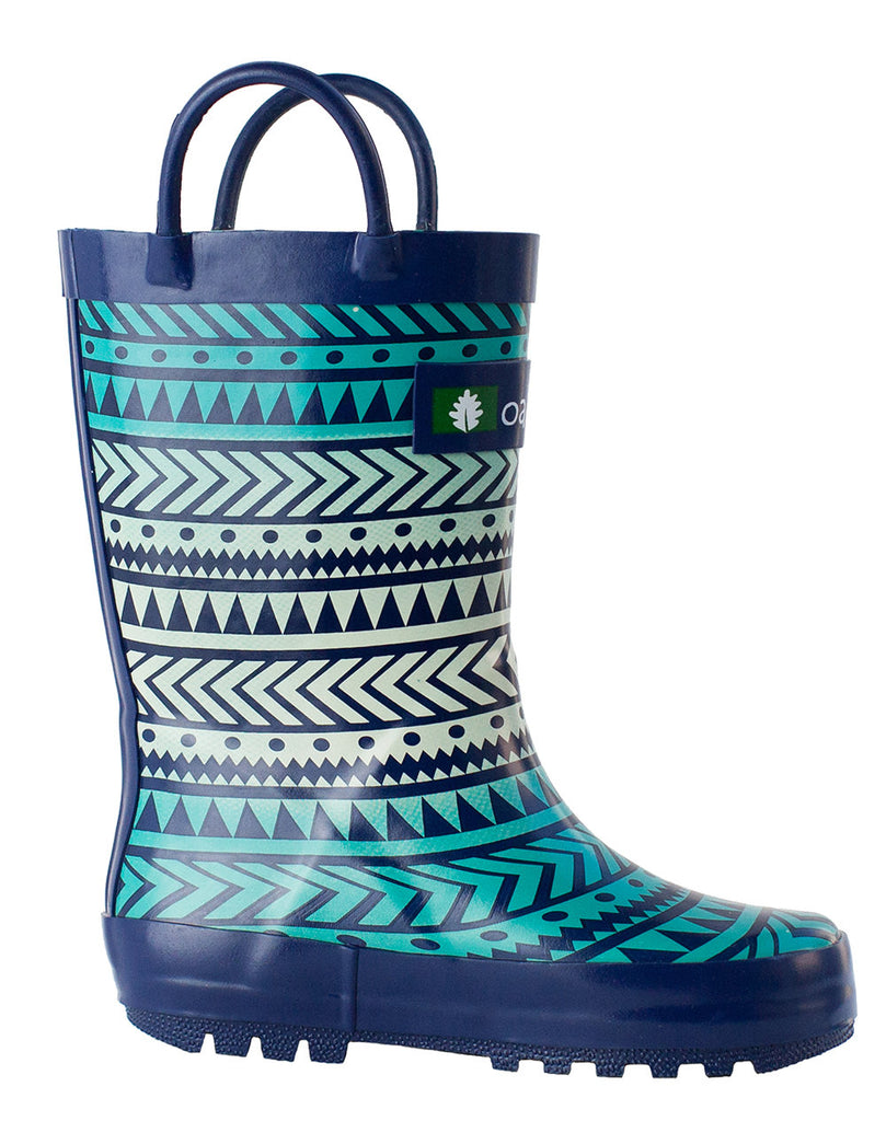Tribal Loop Handle Rubber Rain Boots