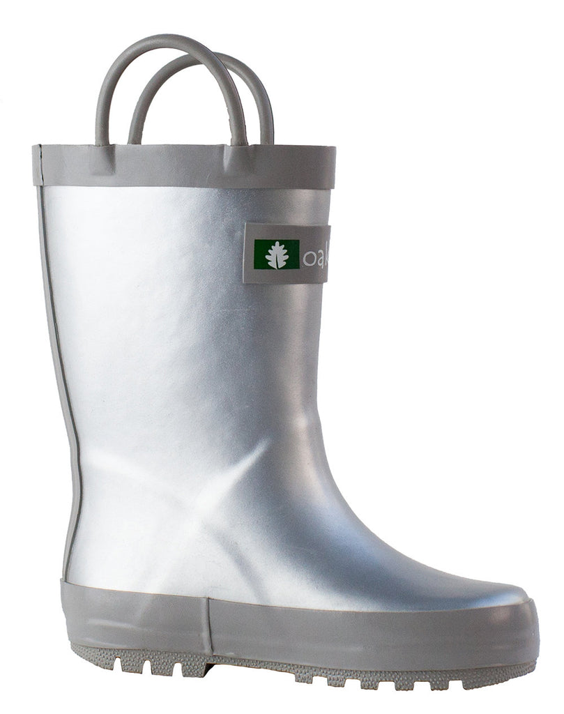 Silver Loop Handle Rubber Rain Boots