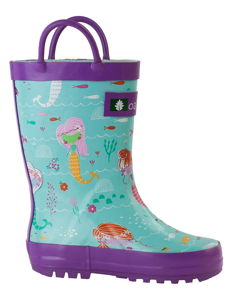 Mermaids Loop Handle Rubber Rain Boots