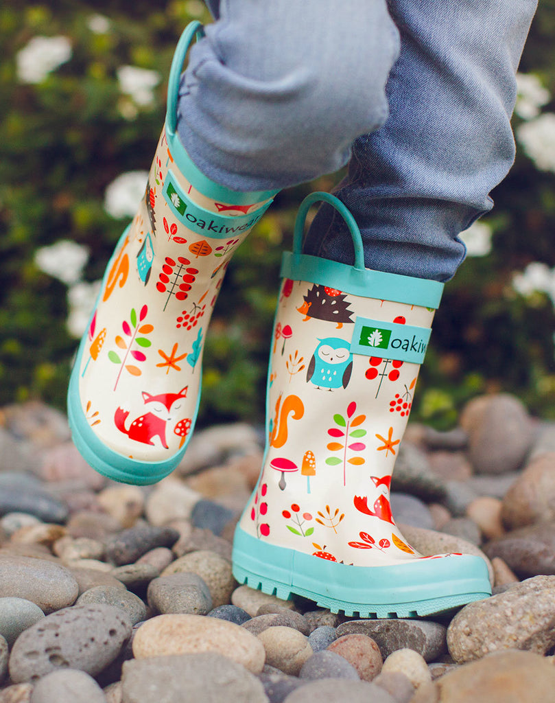Forest Animals Loop Handle Rubber Rain Boots