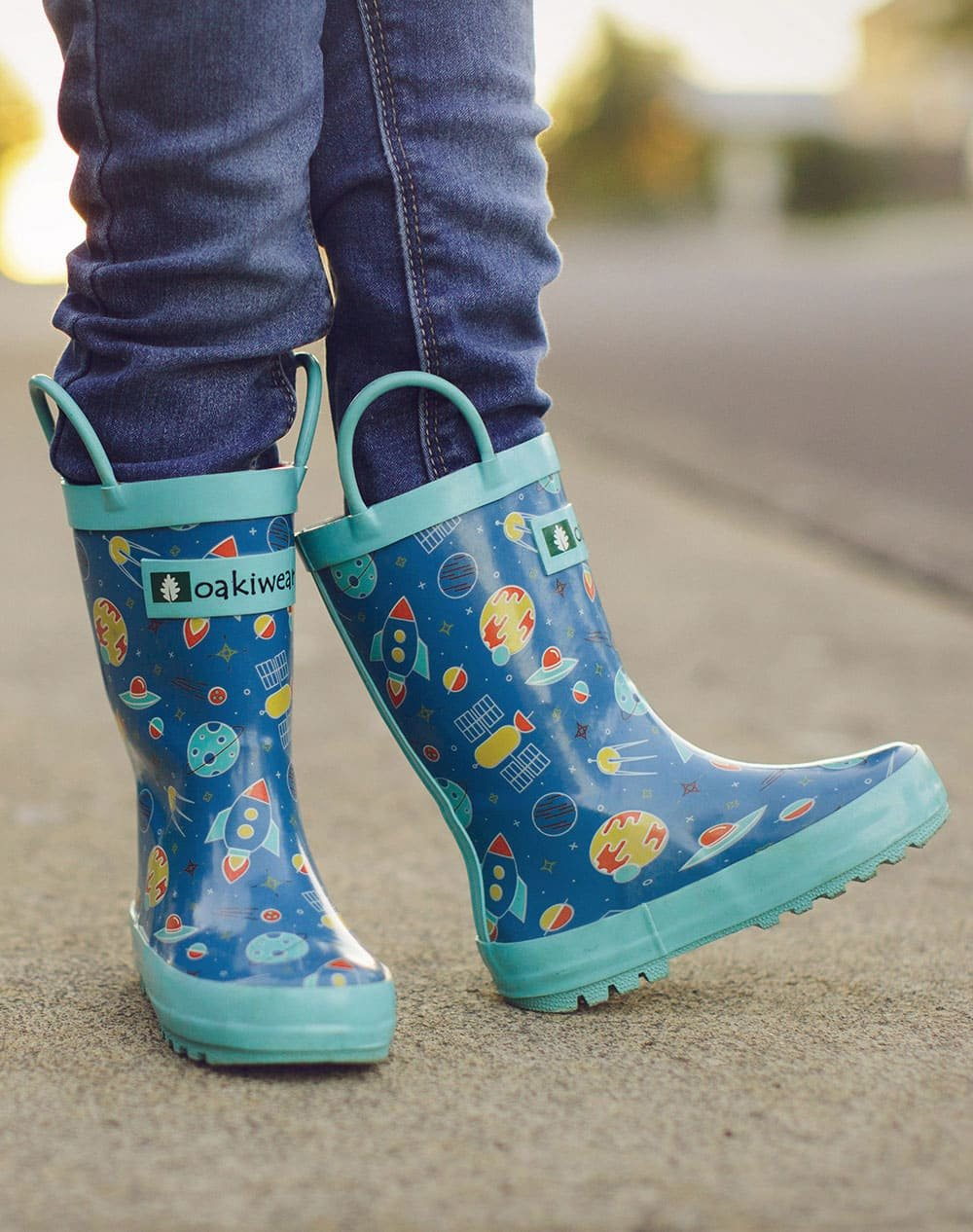 Outer Space Loop Handle Rubber Rain Boots