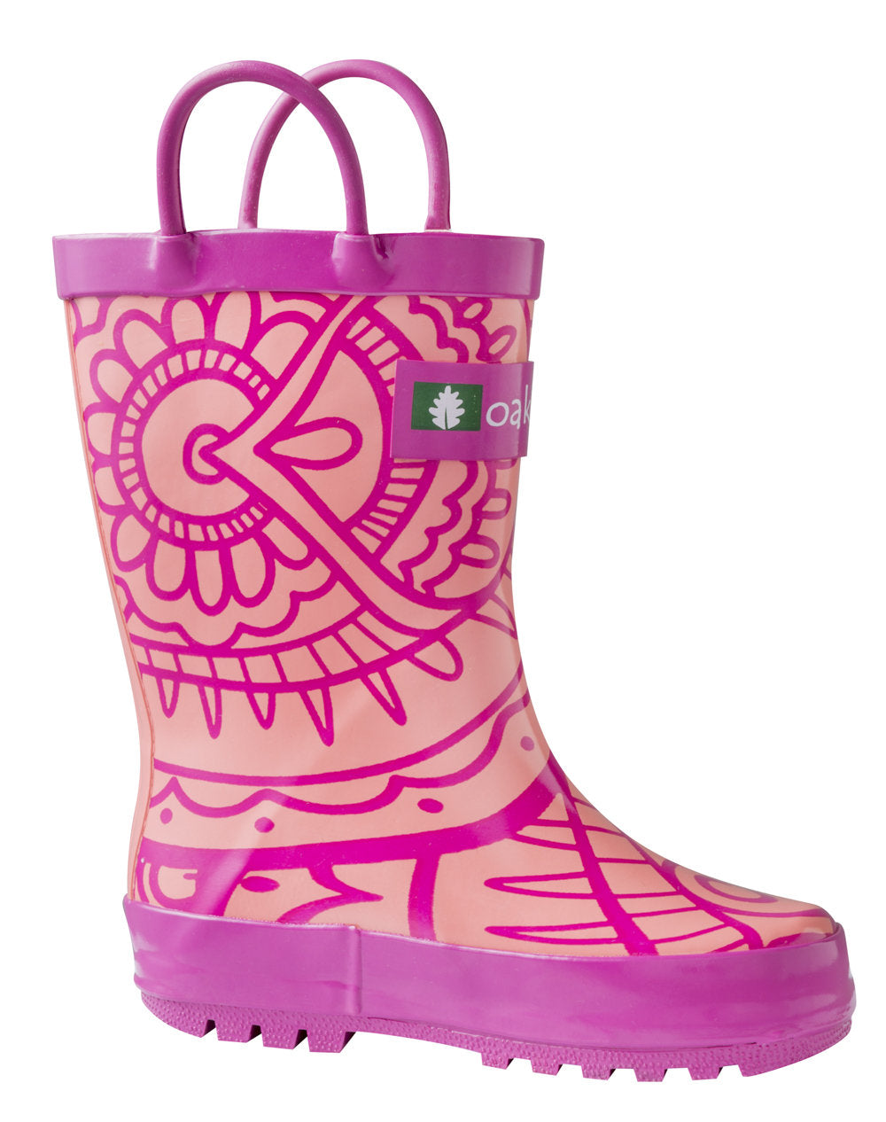 Henna Pink Loop Handle Rubber Rain Boots