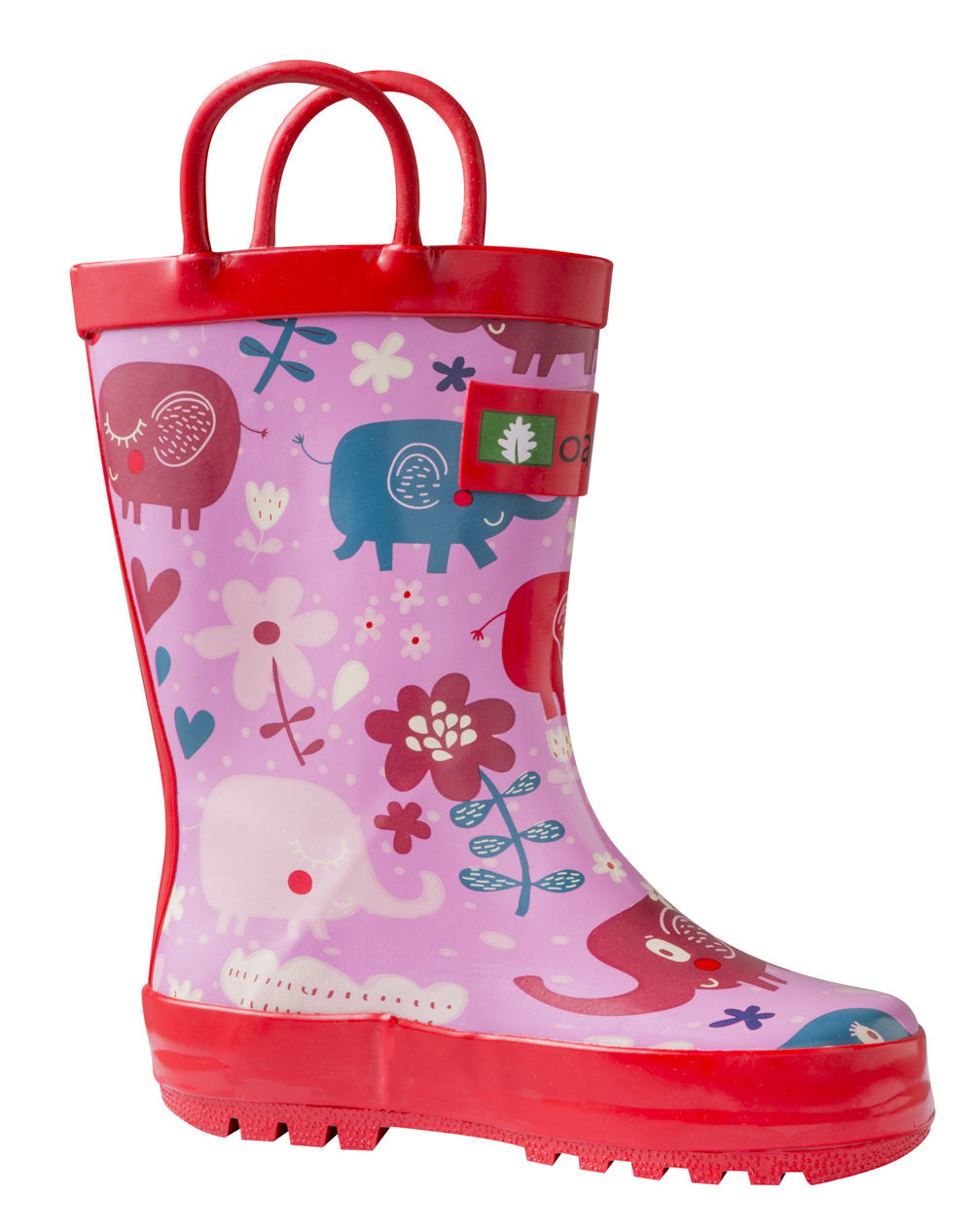 Pink Elephants Loop Handle Rubber Rain Boots