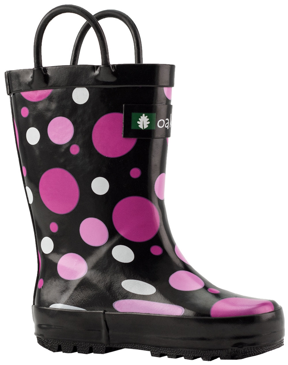Polka Dots Loop Handle Rubber Rain Boots