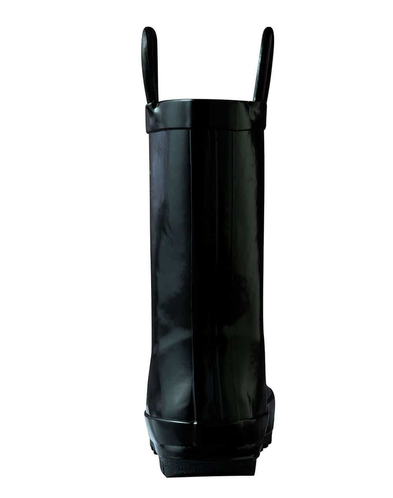 Jet Black Loop Handle Rubber Rain Boots