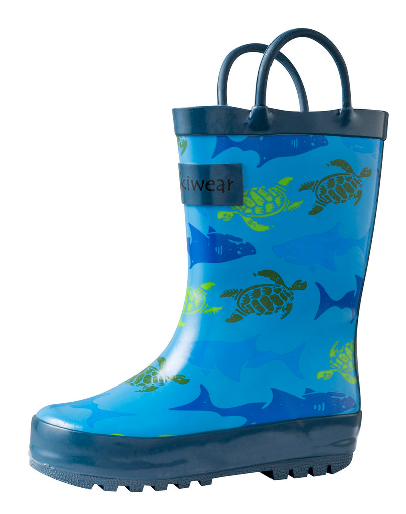 Sharks & Turtles Loop Handle Rubber Rain Boots