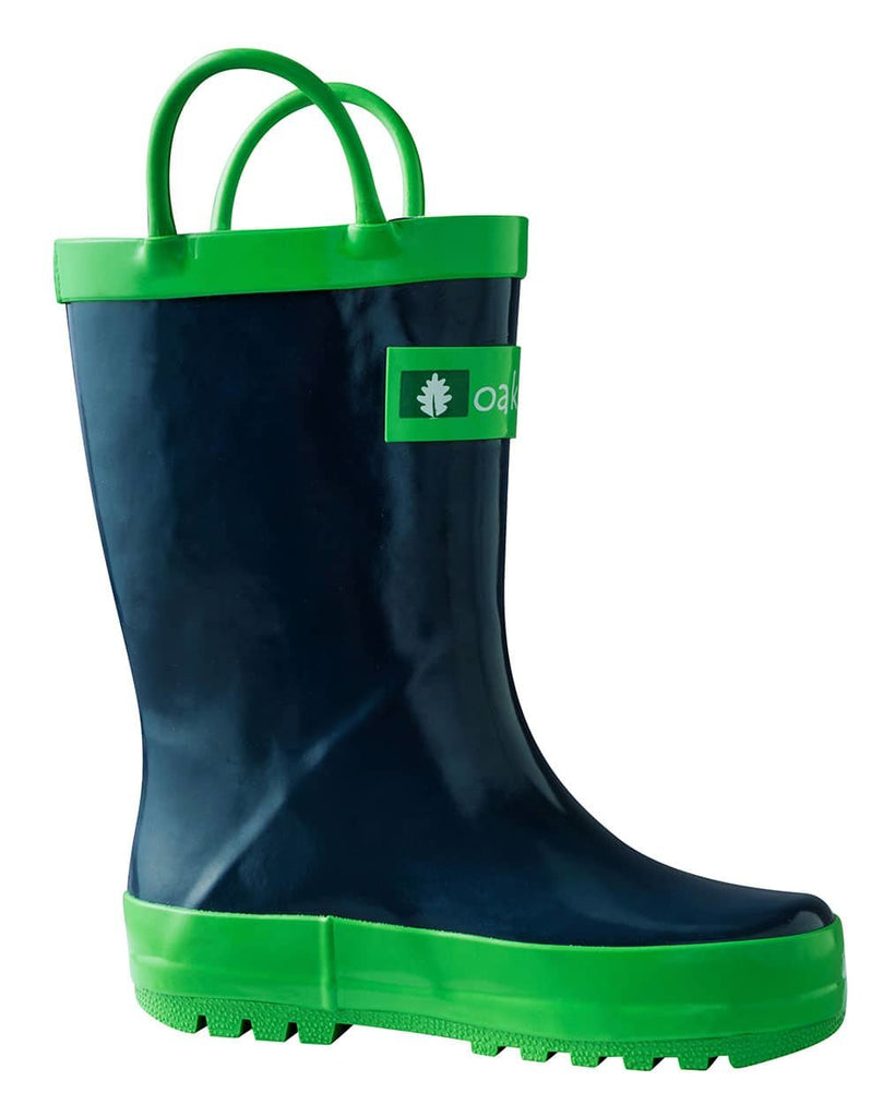 Navy Blue Loop Handle Rubber Rain Boots