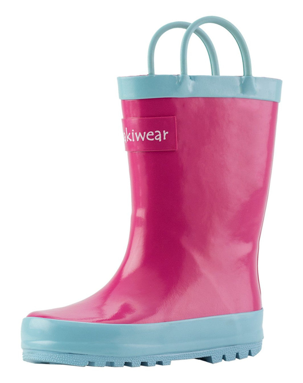 Jazzy Pink Loop Handle Rubber Rain Boots