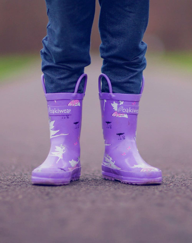 Purple Fairies Loop Handle Rubber Rain Boots