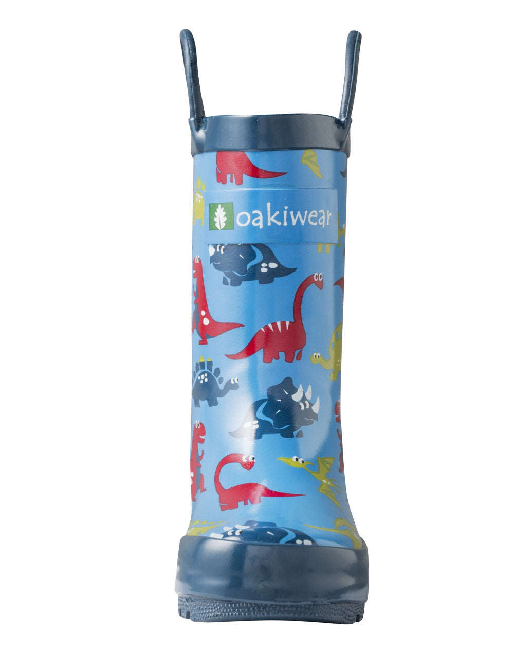 Blue Dinosaurs Loop Handle Rubber Rain Boots