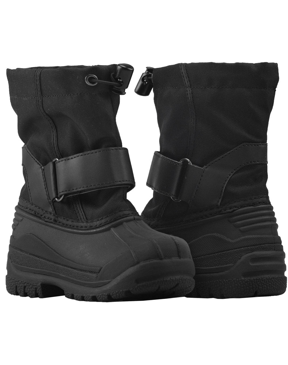 Stealth Black Velcro Snow Boots