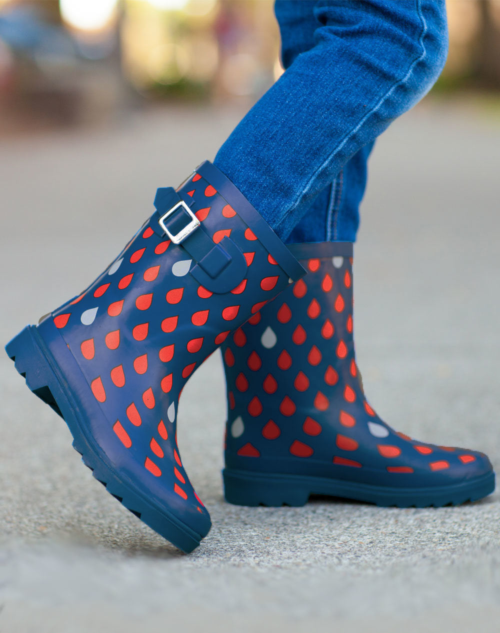 Navy & Red Raindrops Buckle Rubber Rain Boots