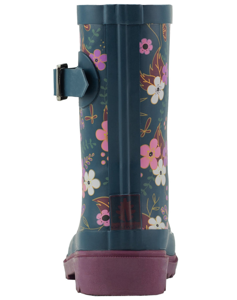 Midnight Floral Buckle Rubber Rain Boots