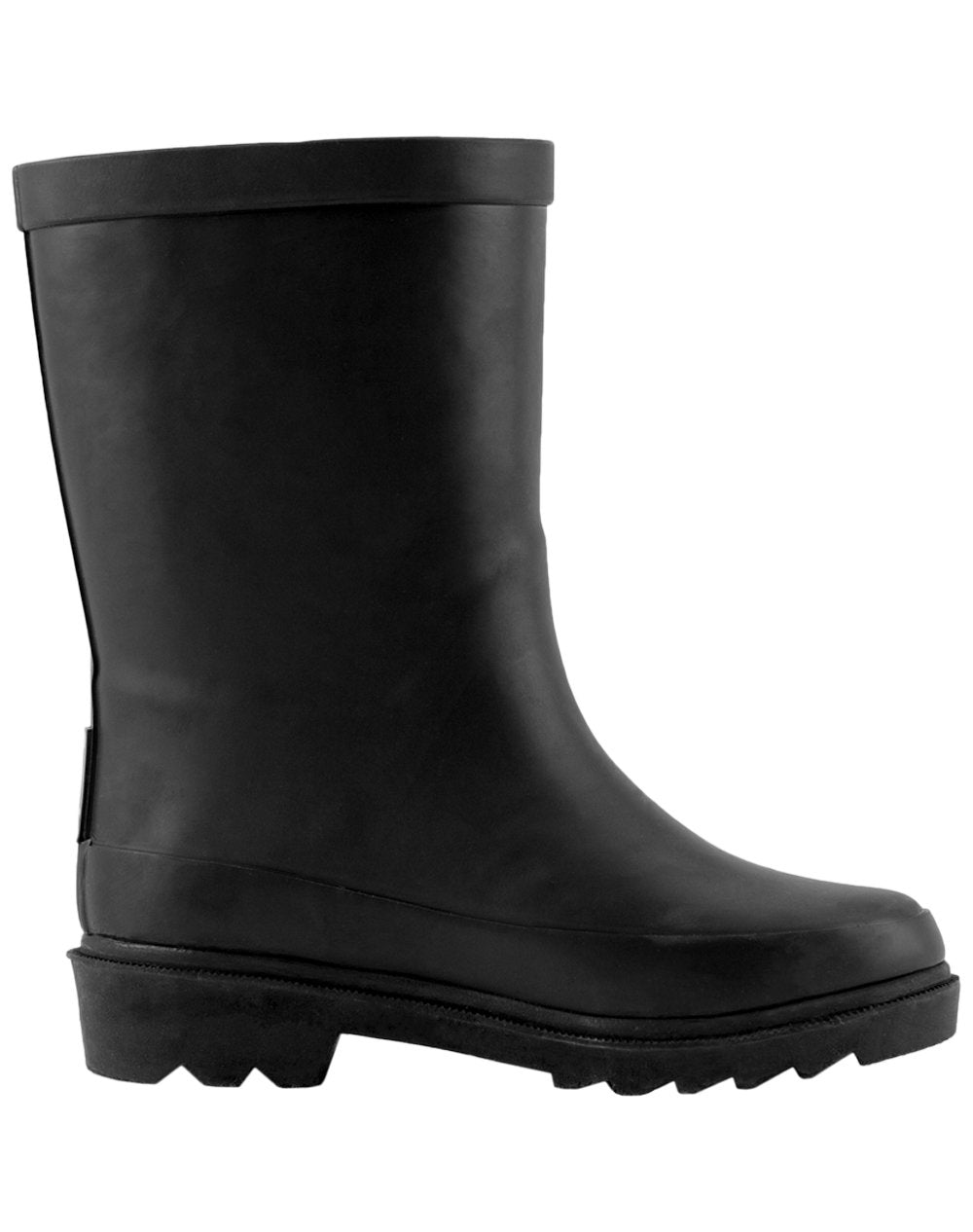 Midnight Black Buckle Rubber Rain Boots