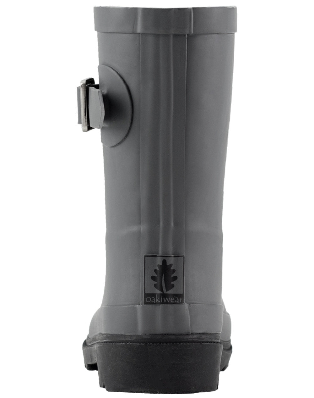 Dark Gray & Black Buckle Rubber Rain Boots