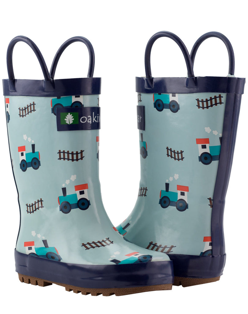 Trains & Tracks Loop Handle Rubber Rain Boots
