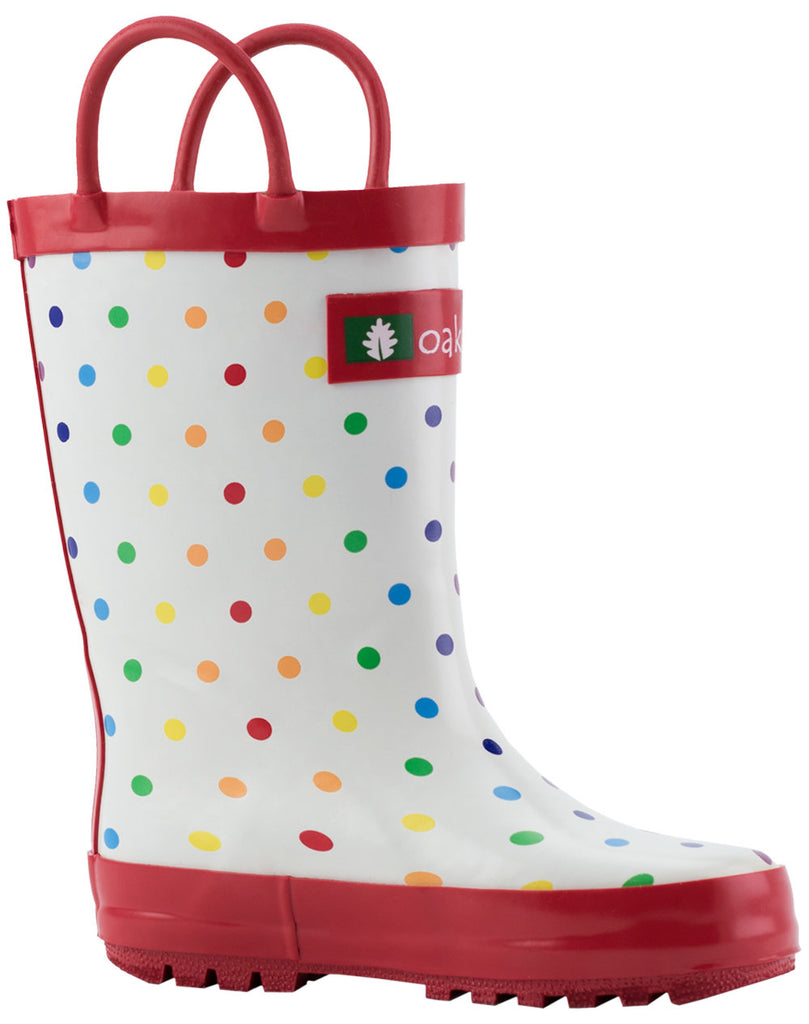Rainbow Polka Dot Loop Handle Rubber Boots