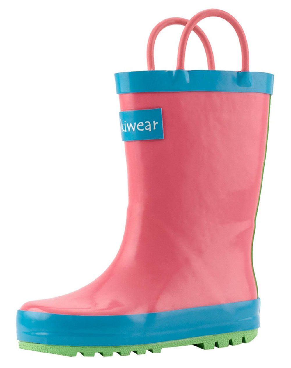 Pink Blue & Green Neon Loop Handle Rubber Rain Boots