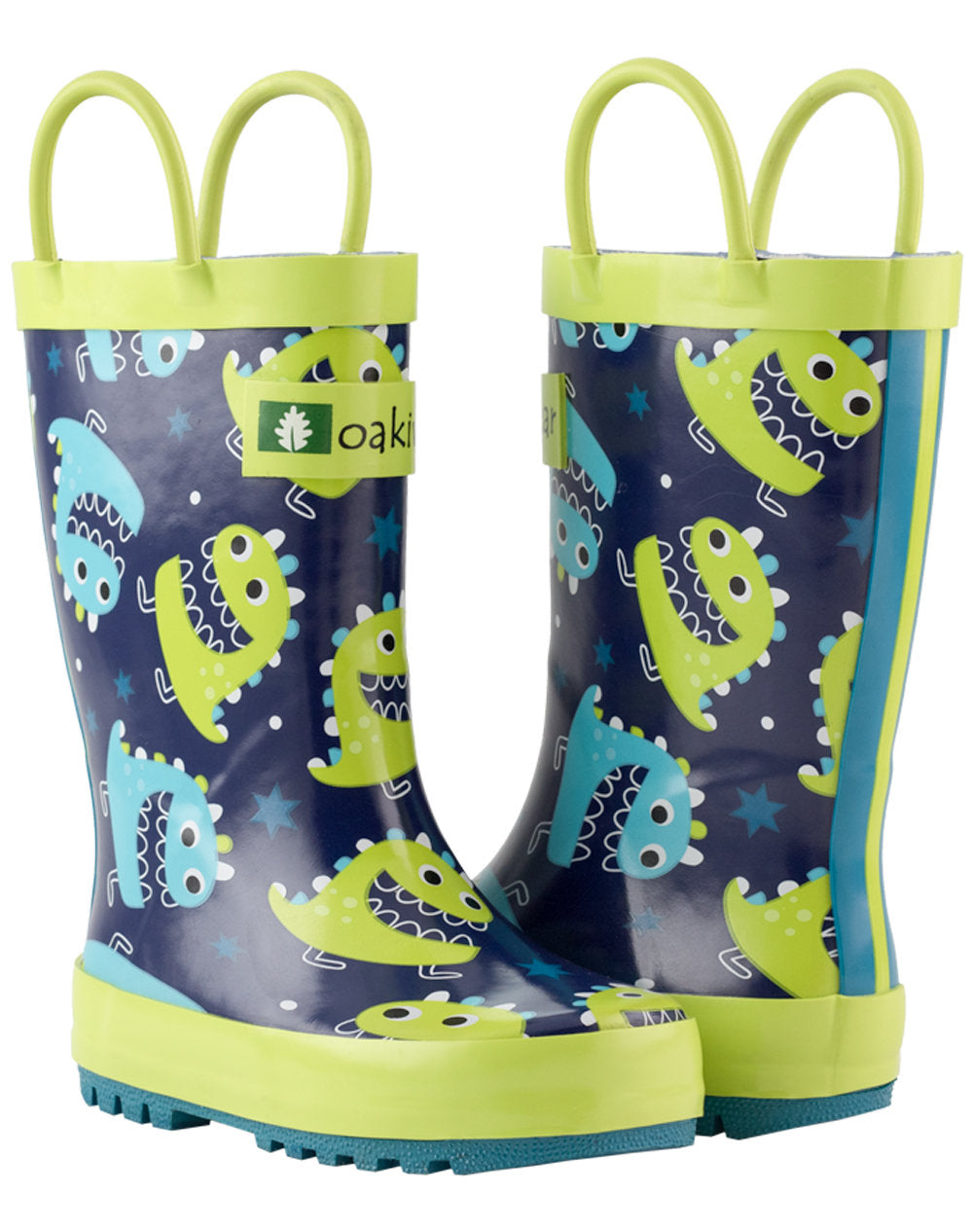Green & Blue Monsters Loop Handle Rubber Rain Boots