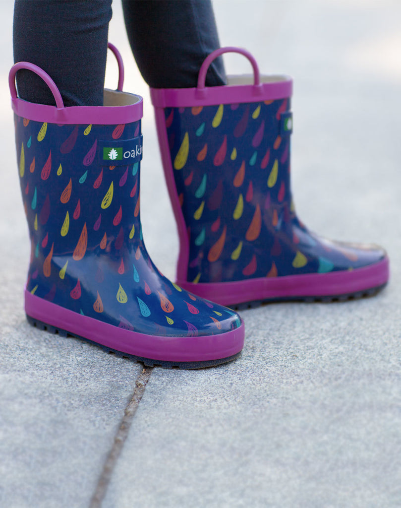 Colorful Raindrops Loop Handle Rubber Rain Boots