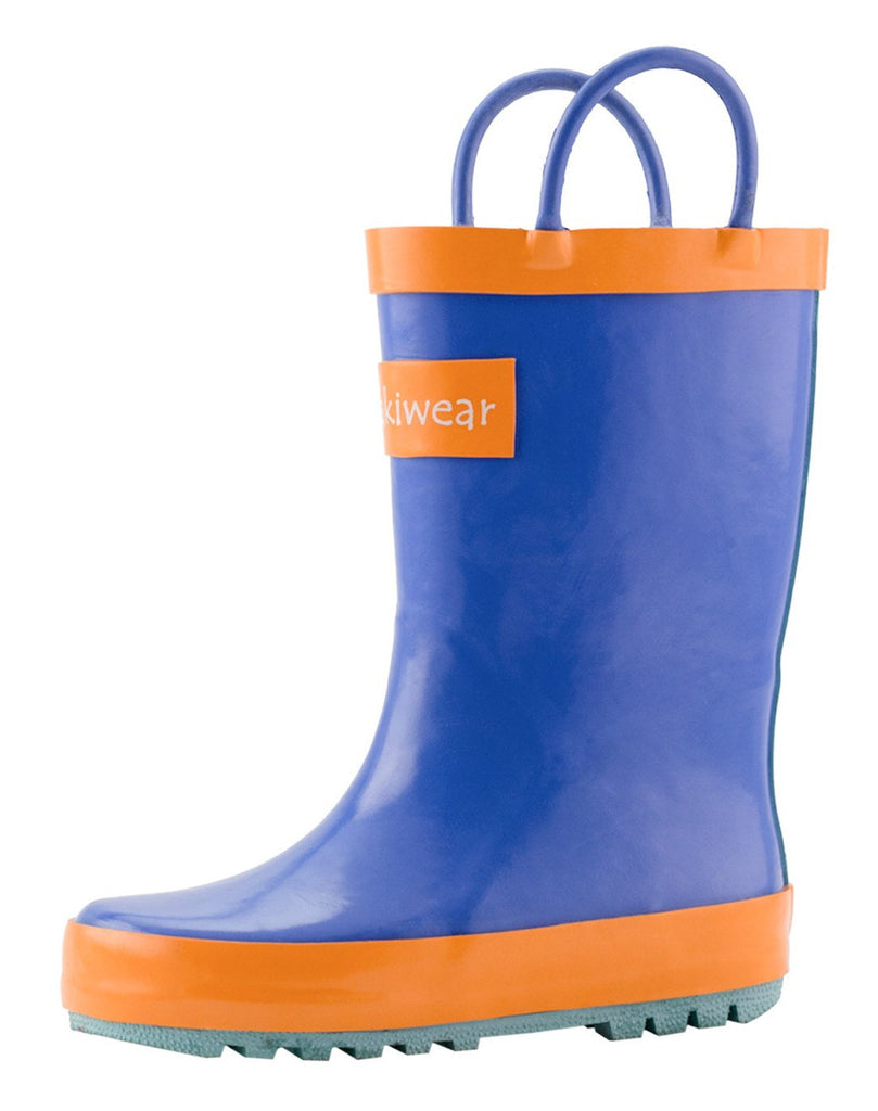 Blue, Orange & Aqua Loop Handle Rubber Rain Boots