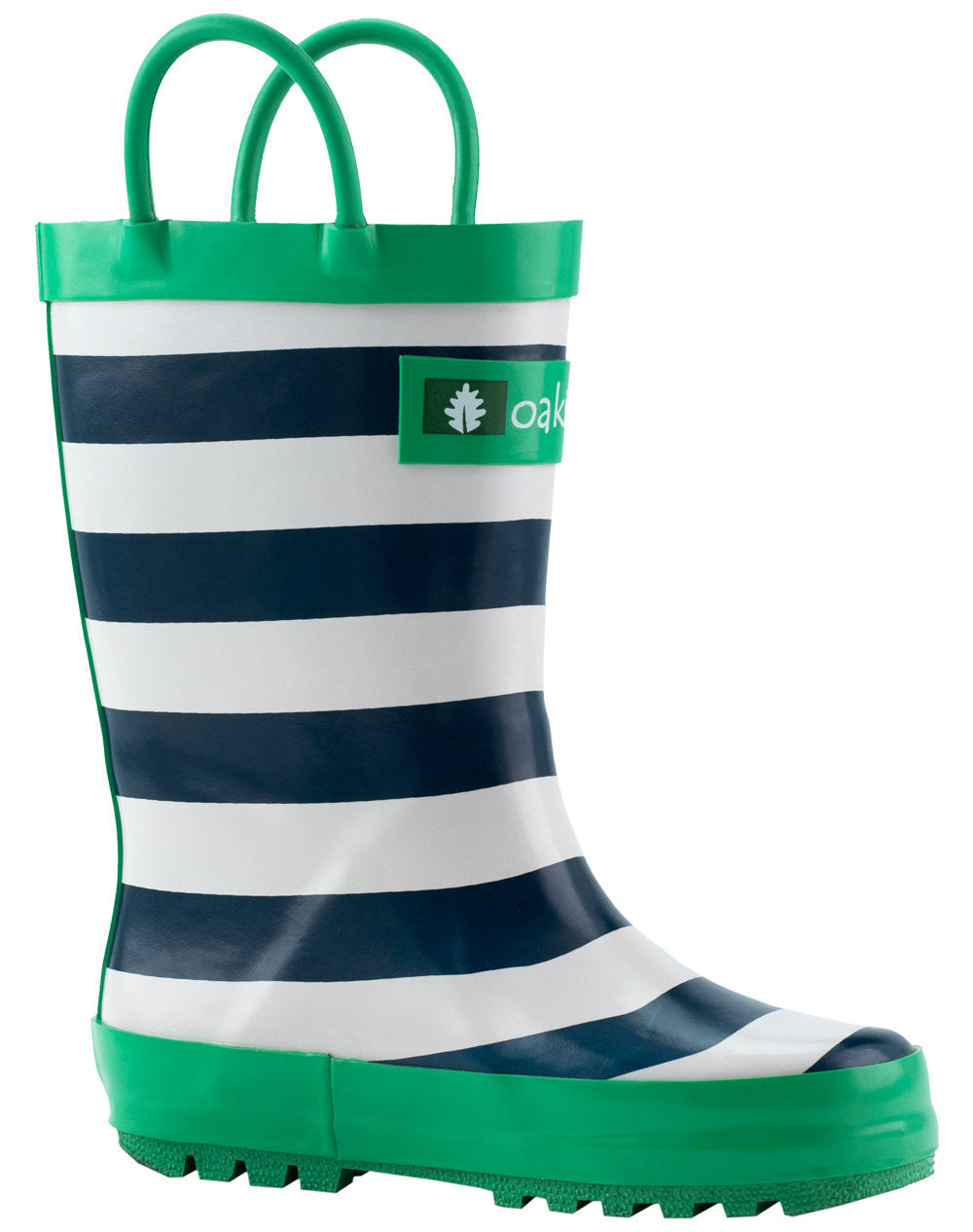 Blue, Green & White Stripes Loop Handle Rubber Rain Boots