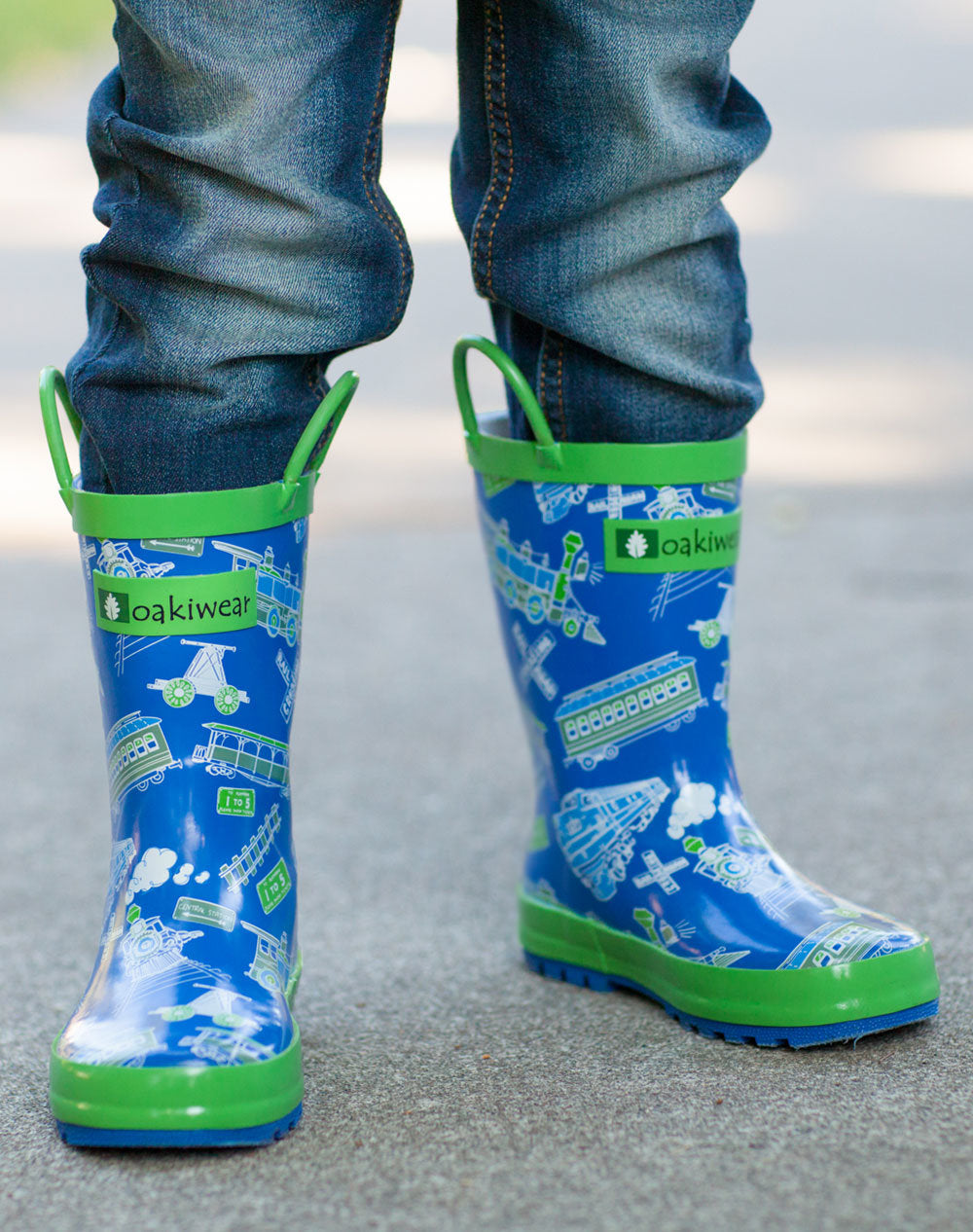 Blue & Green Trains Loop Handle Rubber Rain Boots