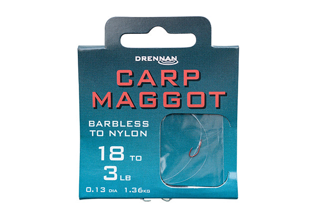 Drennan Barbless Carp Maggot Hooks to Nylon