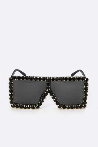 Shield The Sun Black on Black Embellished Sunglasses