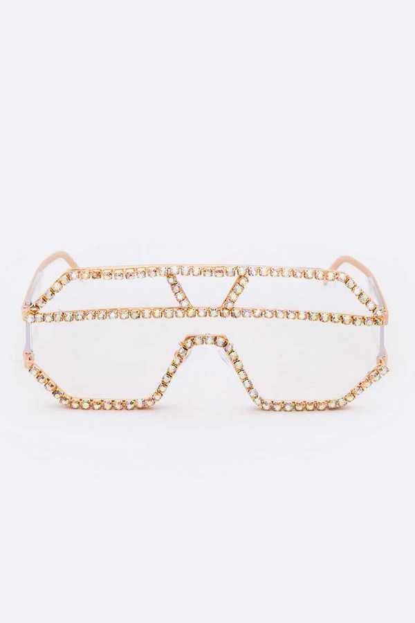 Iridescent Crystal Embellished Sunglasses