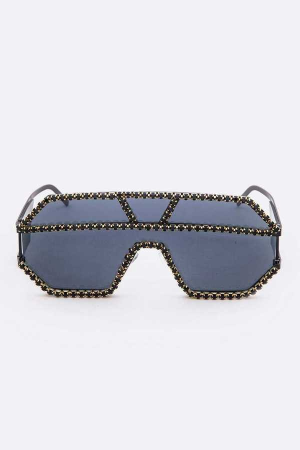 Jet Black Crystal Embellished Sunglasses