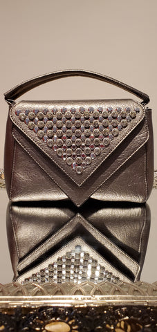 Gun Metal Studded Square Purse