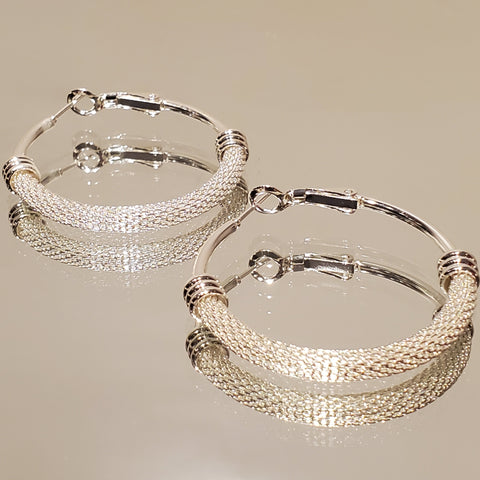 No Basic Hoop Hoops Stainless Steel Mesh Chain Earrings