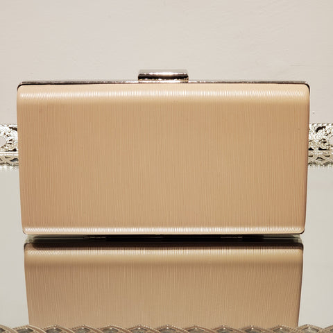 Faux Leather Textured Nude Handbag Clutch