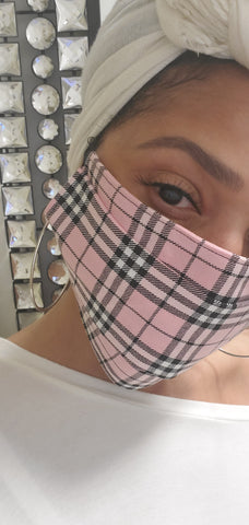 """Mask On"" Pink Plaid Face Mask"