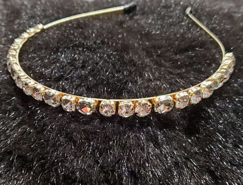 Clear Glass Stone Embellished Metal Headband