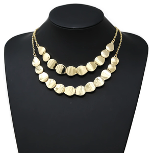 Gold Scalloped Two Layer Necklace