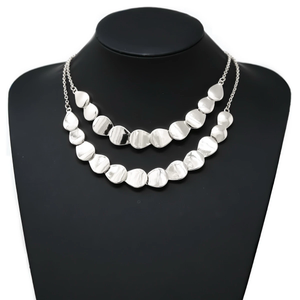 Silver Scalloped Two Layer Necklace
