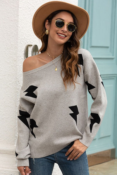 Light it Up Gray Printed Sweater